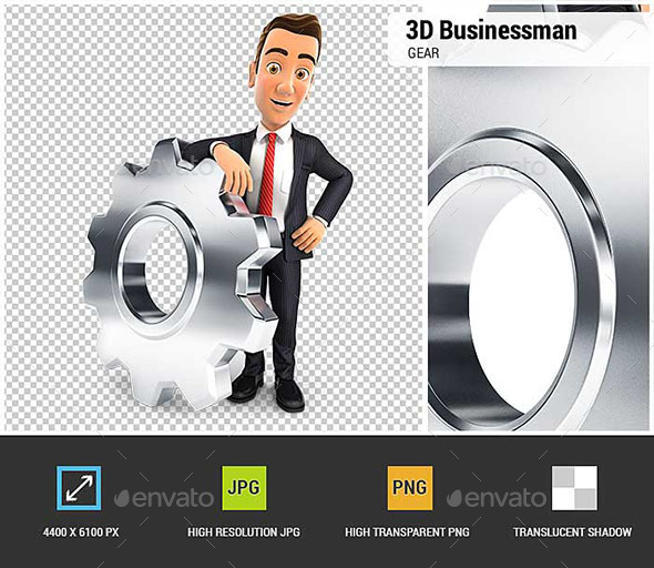 GraphicRiver 3D Businessman Leaning on a Gear 20668548