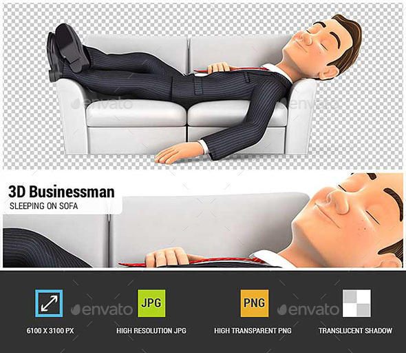 GraphicRiver 3D Businessman Sleeping on Sofa 20668562
