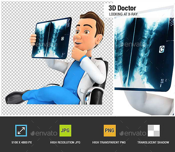 GraphicRiver 3D Doctor Looking at X-Ray in His Office 20668566