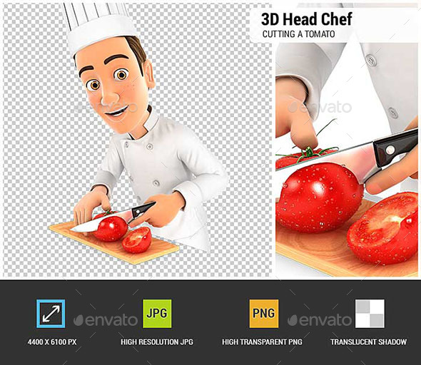 3D Head Chef Cutting a Tomato - Characters 3D Renders