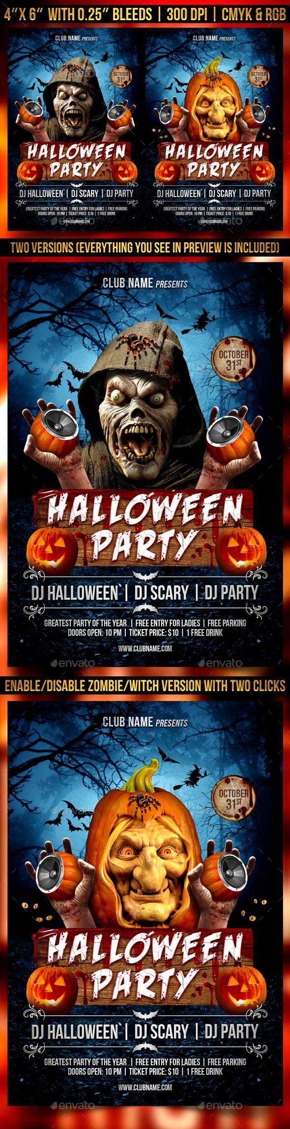 Halloween Party Flyer Template By Gugulanul Graphicriver