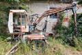 Old deserted and broken digger