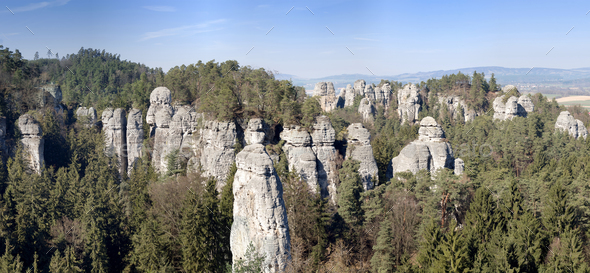 Panorama of the rock town in the Bohemian Paradise - Stock Photo - Images