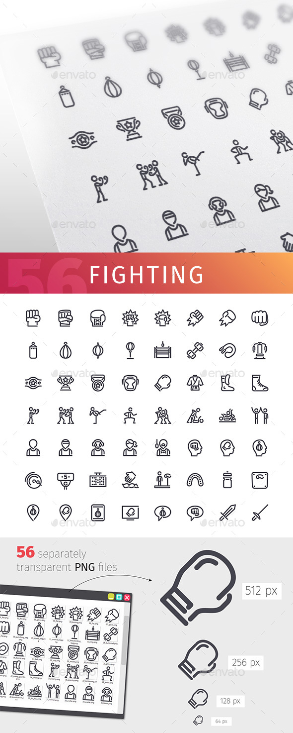 GraphicRiver Fighting Line Icons Set 20668663