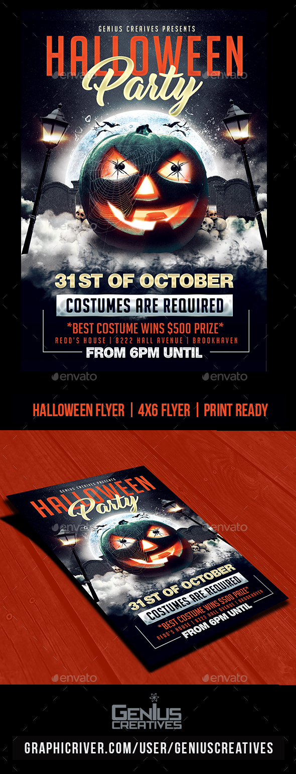 Halloween Party Flyer Template PSD - Holidays Events