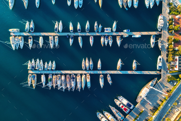 Aerial view of amazing boats at sunset in Marmaris, Turkey - Stock Photo - Images