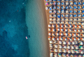 Aerial view of swimming woman on the inflatable mattress in the - PhotoDune Item for Sale