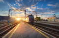 High speed passenger train in motion on railroad track - PhotoDune Item for Sale