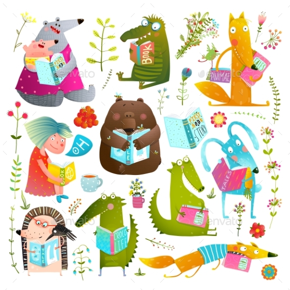 Animal Kids Studying Reading Books - Animals Characters
