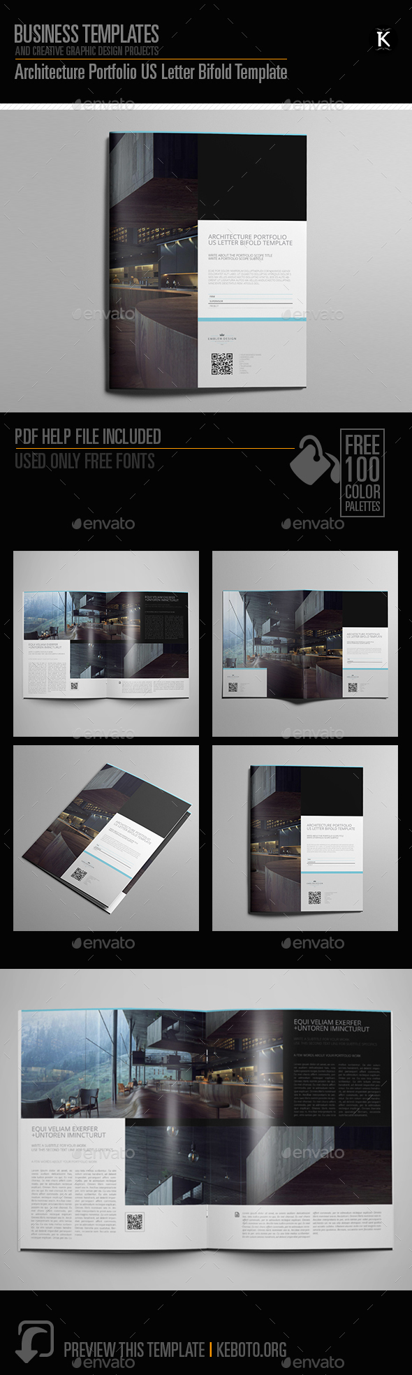 architecture portfolio us letter bifold template by keboto graphicriver. Black Bedroom Furniture Sets. Home Design Ideas