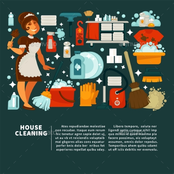 House Cleaning Service Promotion with Equipment - People Characters