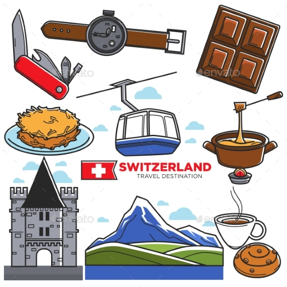 Switzerland Travel Sightseeing Icons and Vector - Travel Conceptual