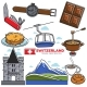 Switzerland Travel Sightseeing Icons and Vector - GraphicRiver Item for Sale
