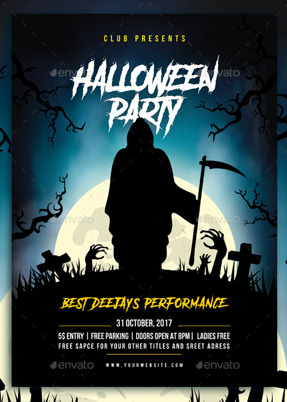 Graphicriver Book Cover Template ~ Print template graphicriver halloween party flyer