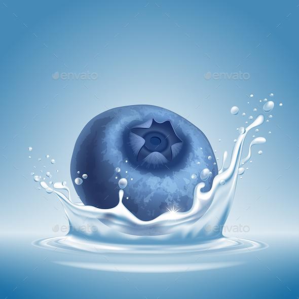 Blueberry in Water Splash - Food Objects