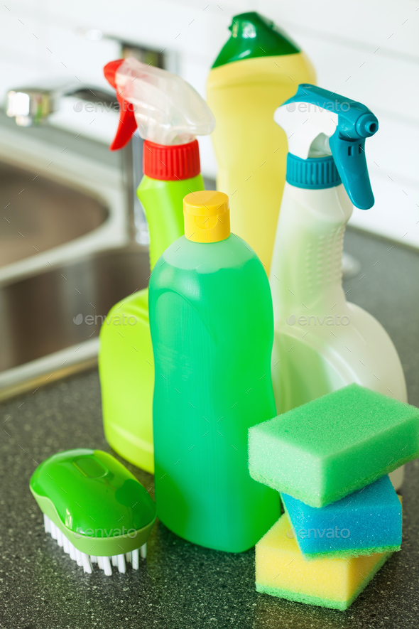 cleaning items household kitchen brush sponge glove - Stock Photo - Images