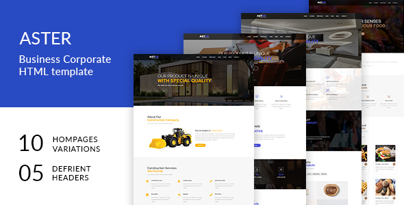 Aster One Page Multipurpose HTML Template - Business Corporate