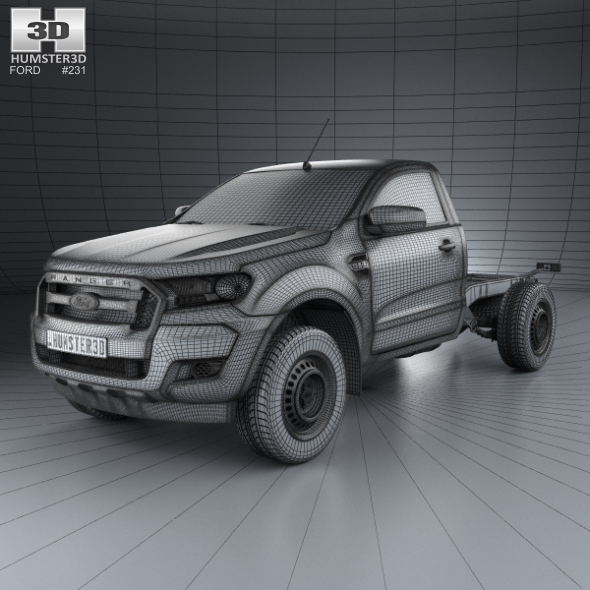 Ford Ranger Single Cab Chassis XL 2015 By Humster3d
