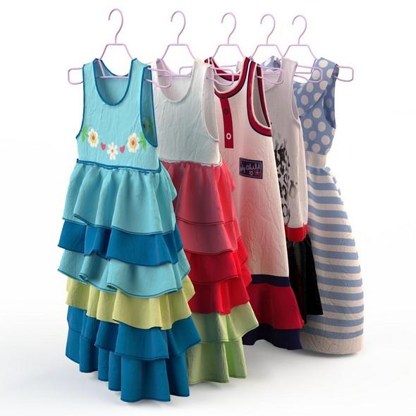 Children clothing girl dresses - 3DOcean Item for Sale
