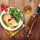 Grilled salmon and white wine on wooden table - PhotoDune Item for Sale