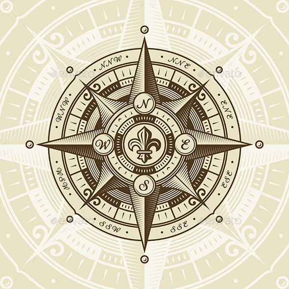 GraphicRiver Vintage Nautical Wind Rose 20670293