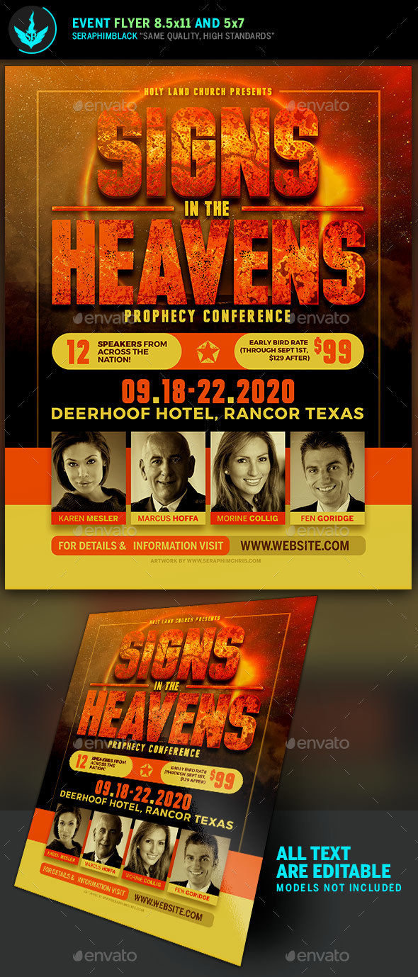 Signs in the Heavens Conference Flyer Template - Church Flyers