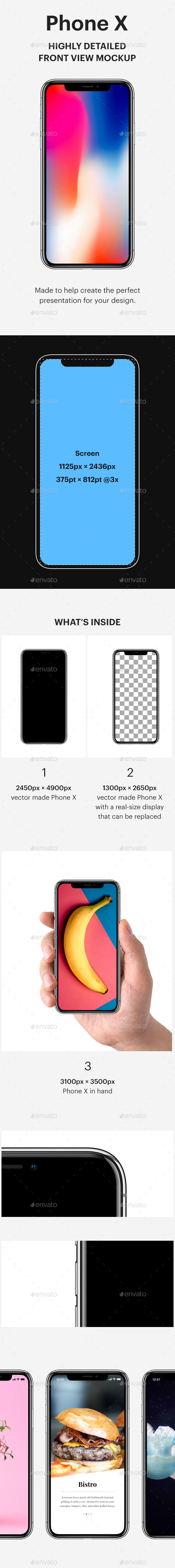 Phone X Front View Mockup - Mobile Displays