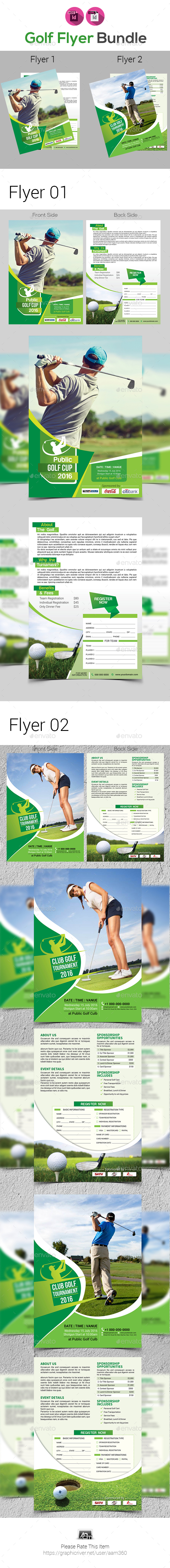Golf Tournament Flyer Bundle Template - Sports Events