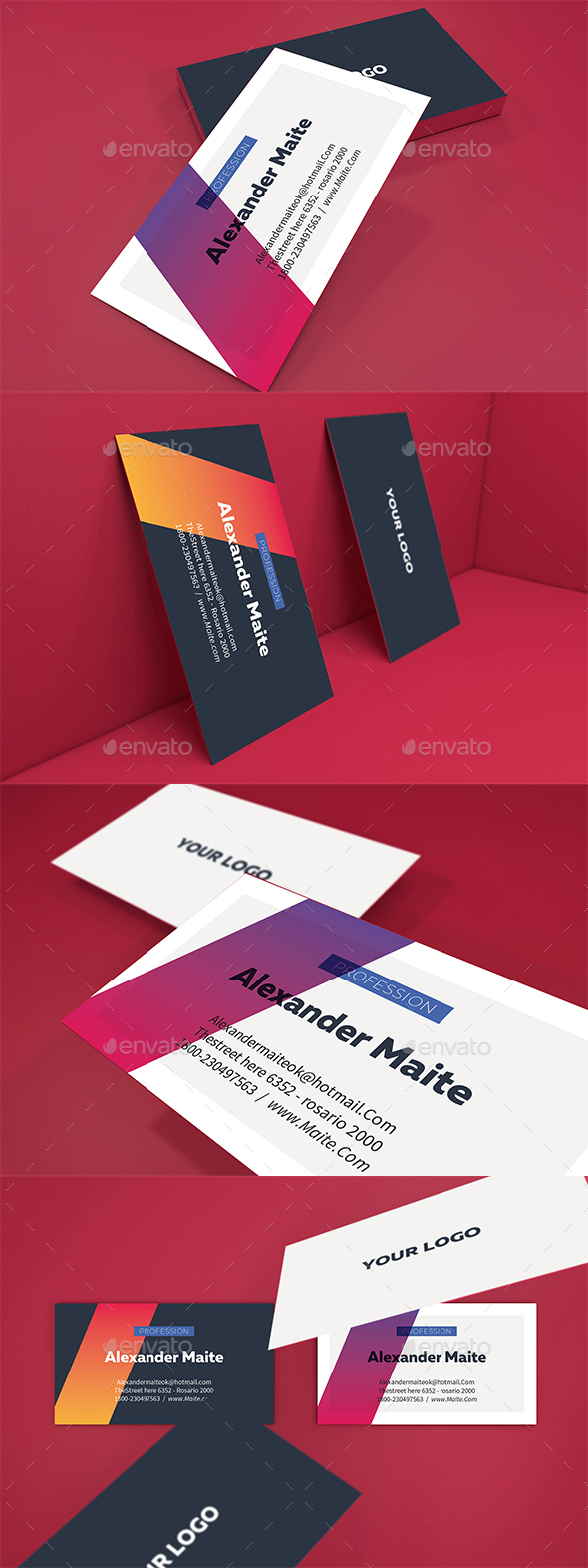 Gradient Business Card Template - Business Cards Print Templates