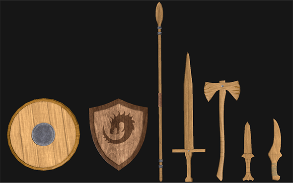 3DOcean Wooden & Metal Weapon Set Low Poly 20670725