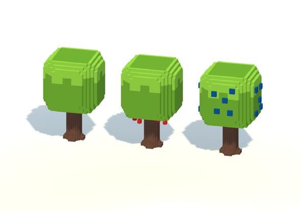 3DOcean Cartoon Voxel Trees Pack 20670779