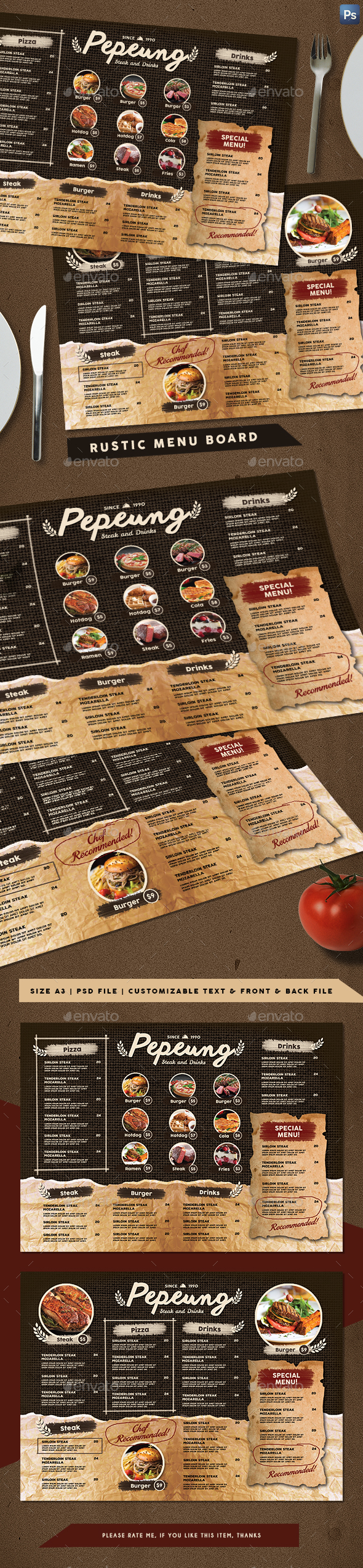 Rustic Cafe Menu Board - Food Menus Print Templates