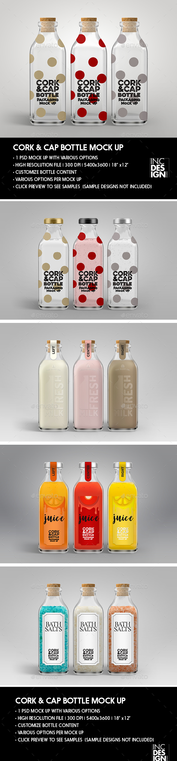 Cork and Metal Cap Bottle Packaging Mock Up
