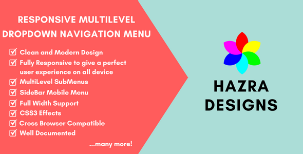 CodeCanyon Css3 Responsive MultiLevel DropDown Navigation Menu 20658273