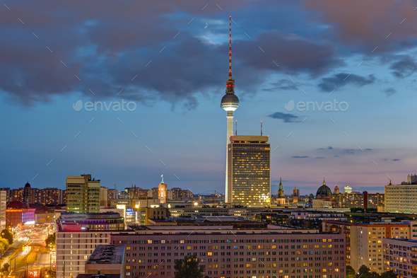 The Television tower and downtown Berlin at dusk - Stock Photo - Images