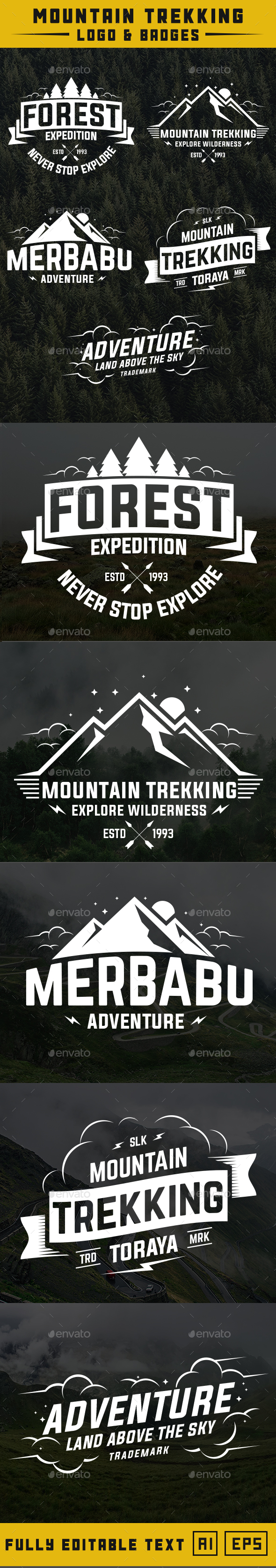 Mountain Trekking Logo and Badge - Badges & Stickers Web Elements