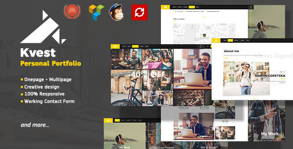 ThemeForest Kvest Creative Responsive Personal Portfolio WordPress Theme 20443305