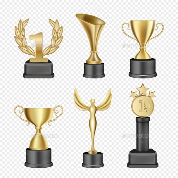 GraphicRiver Vector Metal Award Cup Icon Set 20671400