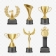 Vector Metal Award Cup Icon Set
