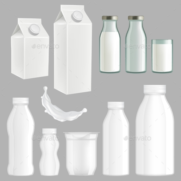 Vector Realistic Creative Milk Packaging Design - Man-made Objects Objects