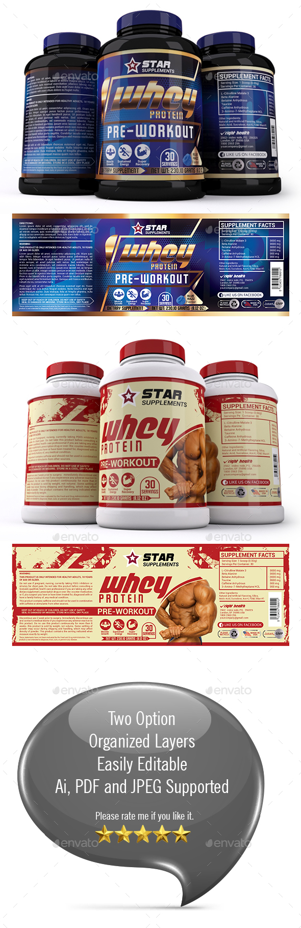 Supplement Label Template Vol 25 - Packaging Print Templates