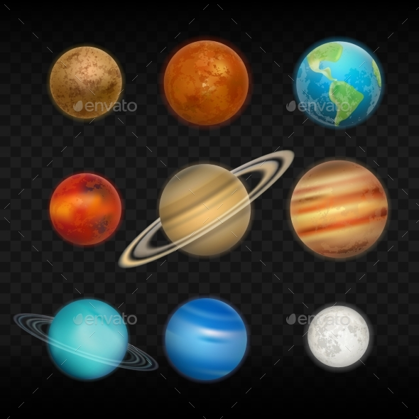 GraphicRiver Vector Realistic Solar System Planet Icon Set 20671415