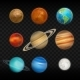 Vector Realistic Solar System Planet Icon Set