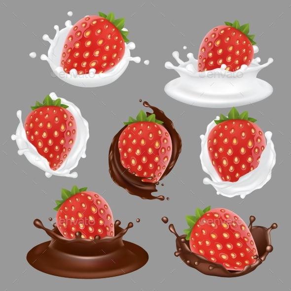 Vector Strawberry Dessert Icon Set - Food Objects