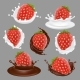 Vector Strawberry Dessert Icon Set