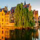 Bruges (Brugge) cityscape with water canal at sunset - PhotoDune Item for Sale