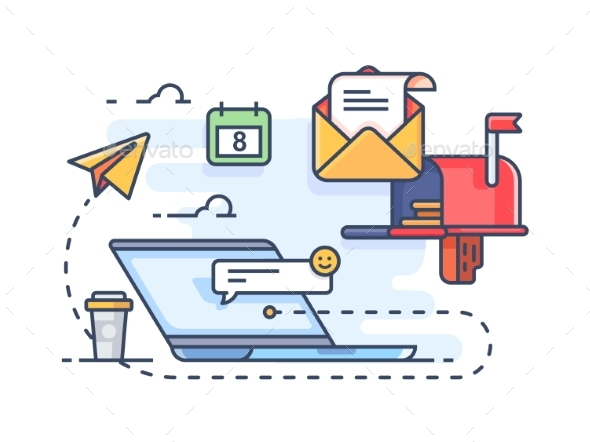 Mail Marketing Mailing to E-mail - Miscellaneous Vectors
