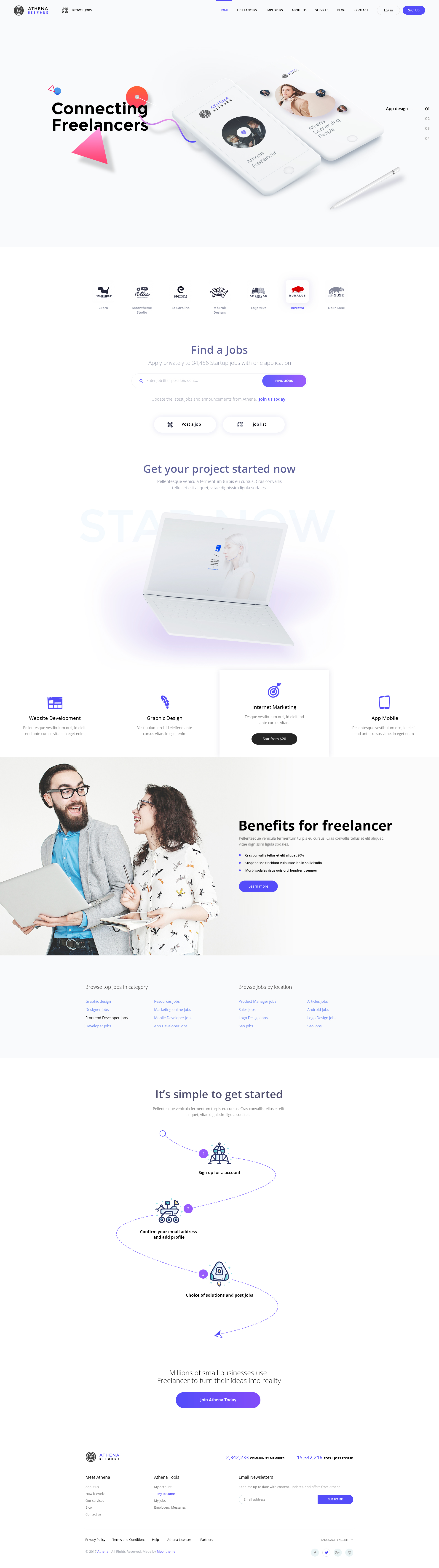 ATHENA - Freelancer and Employers Jobs Search Template by moontheme