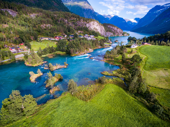 Beautiful Nature Norway aerial photography. - Stock Photo - Images