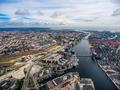 City aerial view over Copenhagen
